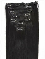 "16"" 70G #01 Jet Black Clip In Full Head 100% Real Remy Human Hair Extensions"