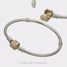 Authentic Pandora Sterling Silver & 14K Gold Pandora Lock Bracelet 7.9 590702HG