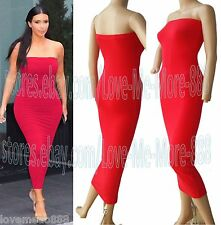 Sexy Strapless Tube Stretch Bodycon Bandage Club Casual Party Maxi Long Dress