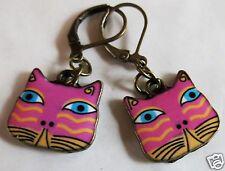 CAT FACE PINK & YELLOW ENAMEL CHARM BRASS TONE EARRINGS FOR PIERCED EARS