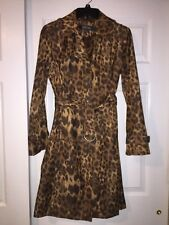 KENNETH COLE REACTION LEOPARD PRINT TRENCH COAT SZ SMALL