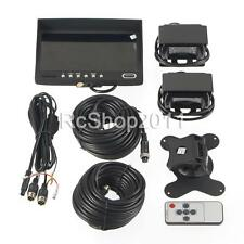 "7"" TFT LCD Monitor Waterproof Car Rear View Night Vision Backup 2 Camera System"