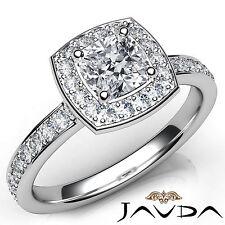 Genuine Cushion Diamond Halo Pave Set Engagement Ring GIA E VVS2 Platinum 1.16Ct