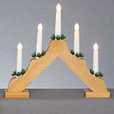 Christmas Decoration Wooden 35cm Battery LED 5 Light Candlebridge
