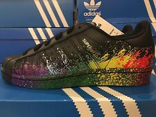 Adidas Women's PRIDE PACK LGBT Superstar Shoes Black BB1687 Rainbow UK 4