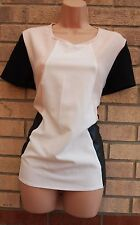 PRIMARK NUDE BLACK FAUX LEATHER BLACK BLOCK PARTY FORMAL BLOUSE TUNIC TOP 14 L