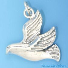 FLYING DOVE PEACE SYMBOL BIRD .925 Solid Sterling Silver Charm Pendant