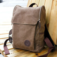 Men's Vintage Canvas Backpack Rucksack Shoulder Travel Camping Satchel Bag