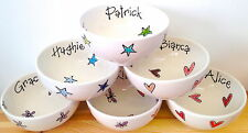 Personalised Handpainted Ceramic Bowl Choose Colour Font Text Gift Present
