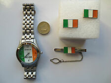 Round Rugby Football Ireland flag Wrist Watch Tie Pin and Cufflinks set gift #4