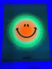 Vintage NOS Smile Blacklight Poster 21x27 1971 Smiley Face McCully