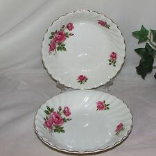 2 JB JOHNSON BROS SNOWHITE REGENCY SOUP CEREAL BOWLS PINK ROSES GOLD IRONSTONE