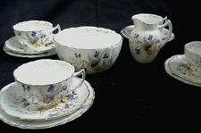 H & G HOLLINSHEAD GRIFFITHS ROYAL CHELSEA POTTERY BURSLEM 4 TRIOS CREAMER & BOWL