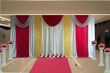 wedding stage decorations backdrop party drapes with swag sequin silk fabric
