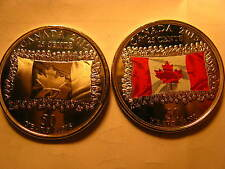 CANADA SET OF 2  2015 25 CENT COINS COLOURED & PLAIN 50 YRS OF CANADIAN FLAG