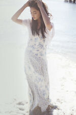 Free People Intimately Love Me Not Floral Boho Festival Ivory Maxi Dress XS Rare