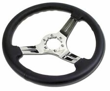 1968 - 1982 Corvette C3 Black Leather Steering  Wheel w/3 Chrome Spokes