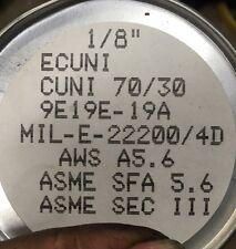 "ERCuNi 1/8"" 1lb Arcos 70/30 Cu Ni Marine Stick Welding Rod Welder ASME SFA 5.6"