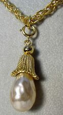 Vintage Trifari GoldPlate Chain Blister Pearl Sarah Coventry Pendantr Necklace
