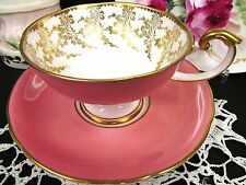 AYNSLEY TEA CUP AND SAUCER PEDESTAL PINK SWAN HANDLE TEACUP GOLD GILT FOOTED
