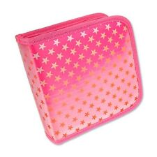 CD DVD Case Wallet Lenticular Color-Changing Red Stars Pink Fabric #CD24-R-012P#