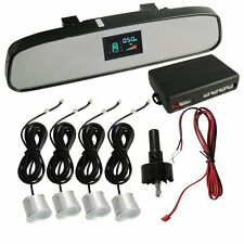 White Car VFD Talking Reverse Parking Sensor Rear View Mirror Display Polo