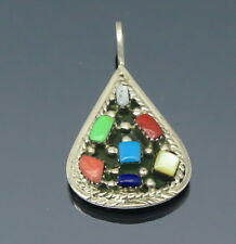 Navajo WR Multi Gem Cluster Gaspeite Turquoise Coral Sterling Silver Pendant
