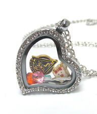 "ORIGAMI-STYLE Dentist Tooth Toothbrush Floating Charm Heart Locket 24"" Necklace"