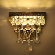 American Luxury Vintage Loft Water Drop K9 Crystal Wall Light Bedroom Lamp Aisle