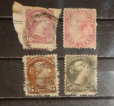 small lot 4 early Canada stamp used