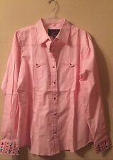 Women Western Rodeo Blouse Shirt XXL Cowgirl Snap RU Apparel Sherry Cervi Pink