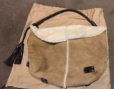 Genuine Ugg Hand Bag Purse Australia Sheepskin Tan Chestnut Suede with Dust bag
