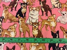 Timeless Treasures Chihuahua Dog Puppy Fabric, Very Cute! BTHY