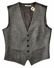 GIEVES & HAWKES Wool Vest, Black/White/Brown 38R ITALY $665