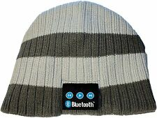 Wireless Bluetooth Toque Cap Headphone Head Speaker Mic Beanie Hat Gray Stripe