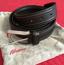 New BRIONI Black Leather Men's Silver Buckle Belt Limited Edition Italy 110/42