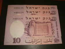 Israel 10 Lirot Pounds 1958 , 3 Consecutive Numbers , Unc Bank Notes Prefix Kof1