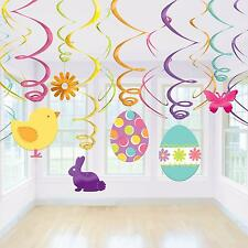 HAPPY EASTER PARTY EGG HUNT BUNNY EGGS CHICKS HANGING BUTTERFLY DECORATION SWIRL