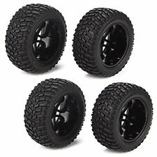 4P Black 16 Spoke Wheel Rim + Beard Pattern Tires for RC 1:10 Off Road Car