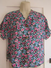Ladies size 10 Ladies Pride black floral blouse Made in GB