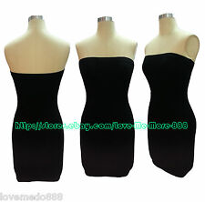 Tube Strapless Stretch PLAIN tight fitted slim CLUBWEAR CASUAL bodycon DRESS
