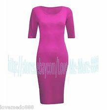 WOMENS CASUAL Short sleeveS STRETCH Fit Midi Calf Solid Tunic Dress Bodycon (M)