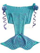 Mermaid Tail Sofa Blanket Super Soft Warm Hand Crocheted Knitting Wool For Kids