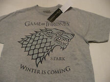 """GAME OF THRONES MENS SMALL LIGHT GRAY """"WINTER IS COMING"""" T-SHIRT NEW WITH TAG"""