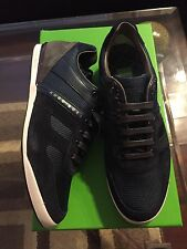 New In Box Hugo Boss Logo Shoes Sneakers  Men Akeen Dark Blue 7 $245