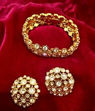 Genuine Signed Swarovski Gold Tone Crystal Bracelet and Earring Set