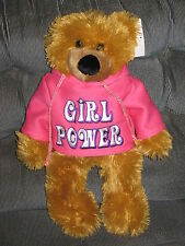 "Ideal Toys Direct Soft Stuffed Plush Girl Power 15"" Toy Bear With Tag #TY25"