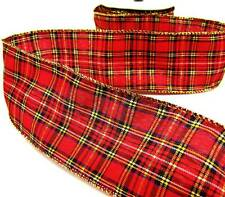"5 Yds Christmas Scottish Plaid Wired Ribbon 2 1/2""W"