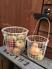 Vintage Round White Wire Metal Basket Rustic Storage Container 2 Sizes Available