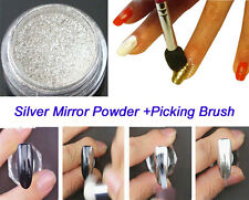 Nail Art Mirror Powder Silver Chrome Pigment With Powder Picker Pen Manicure DIY